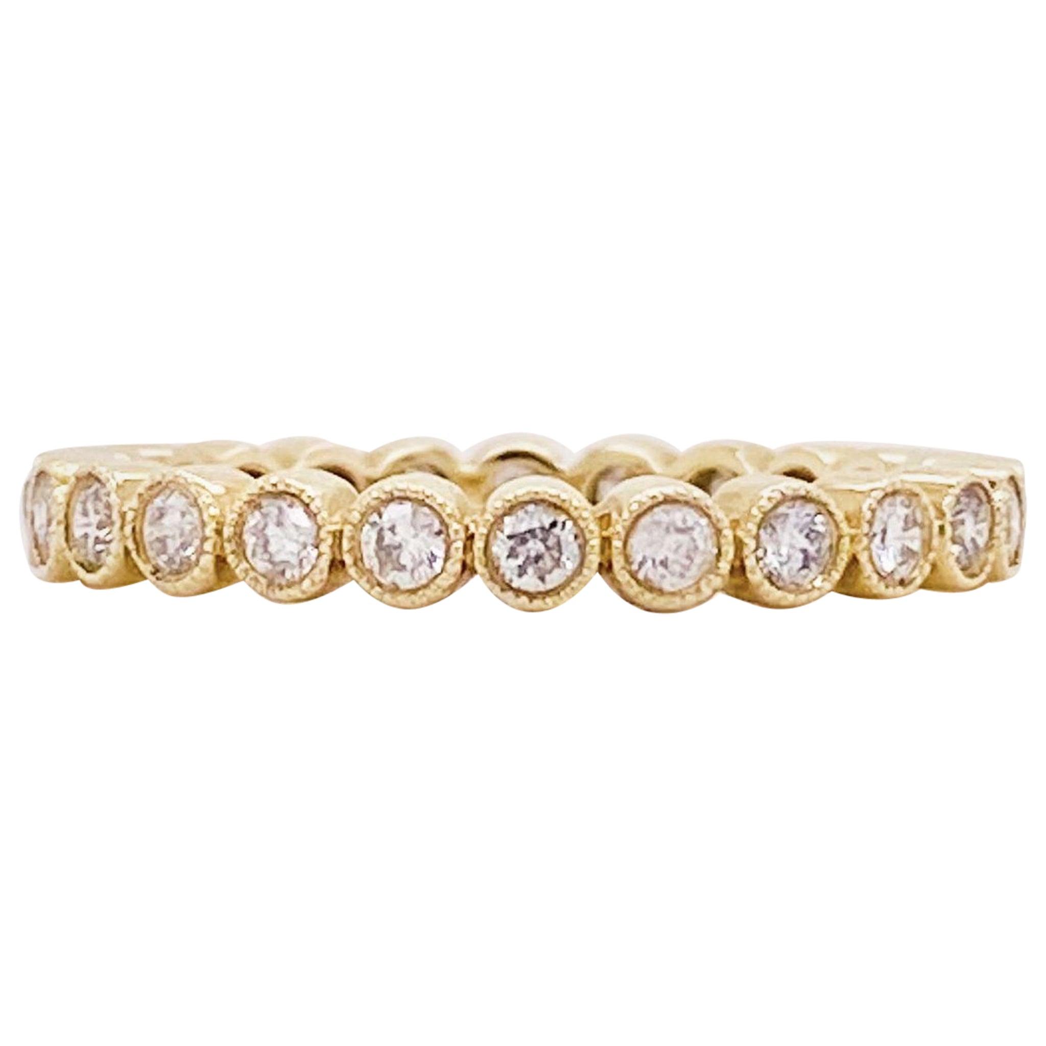 Diamond Bezel Eternity Band 14K Yellow Gold Stackable Half Carat Diamond Band