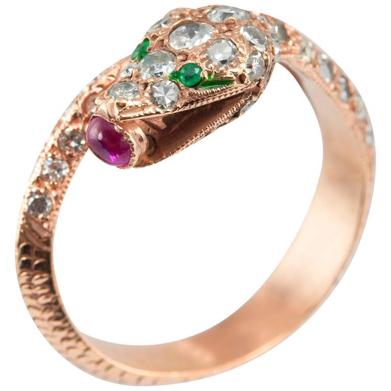 emerald ruby gold snake ring at 1stdibs