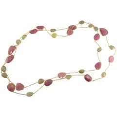 Jona Flat Cut Rose and Yellow Sapphire 18 Karat Yellow Gold Long Chain Necklace