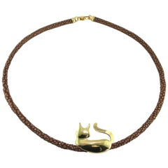 Jona 18 Karat Yellow Gold Cat Silhouette Pendant on a Galuchat Choker