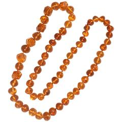 Amber Faceted and Oval Bead Necklace