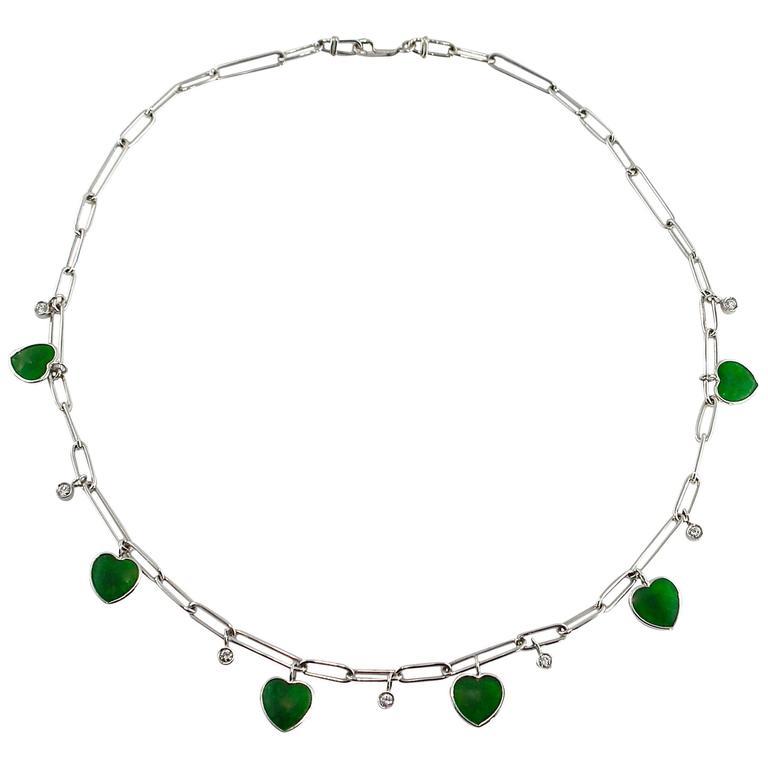 Jona Burmese Jade Heart Diamond White Gold Necklace