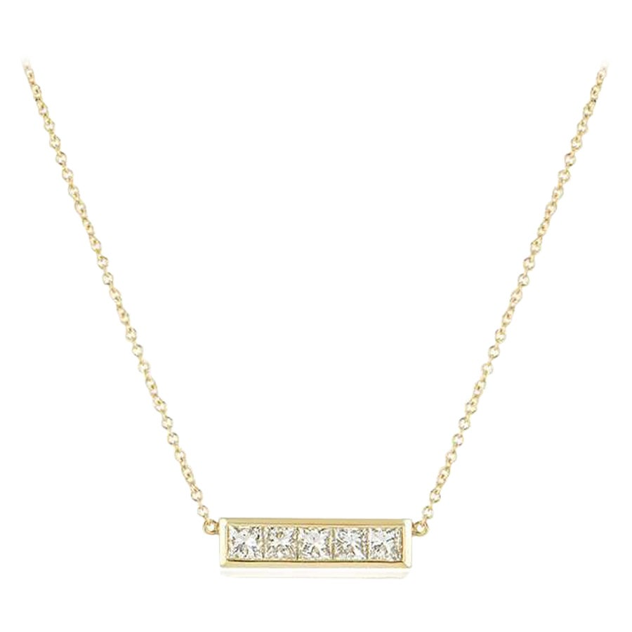 Yellow Gold Diamond Bar Necklace 1.00 Carat