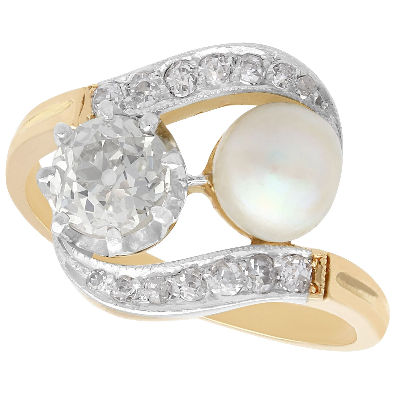 Antique 1.07 Carat Diamond and Natural Saltwater Pearl Yellow Gold Twist Ring