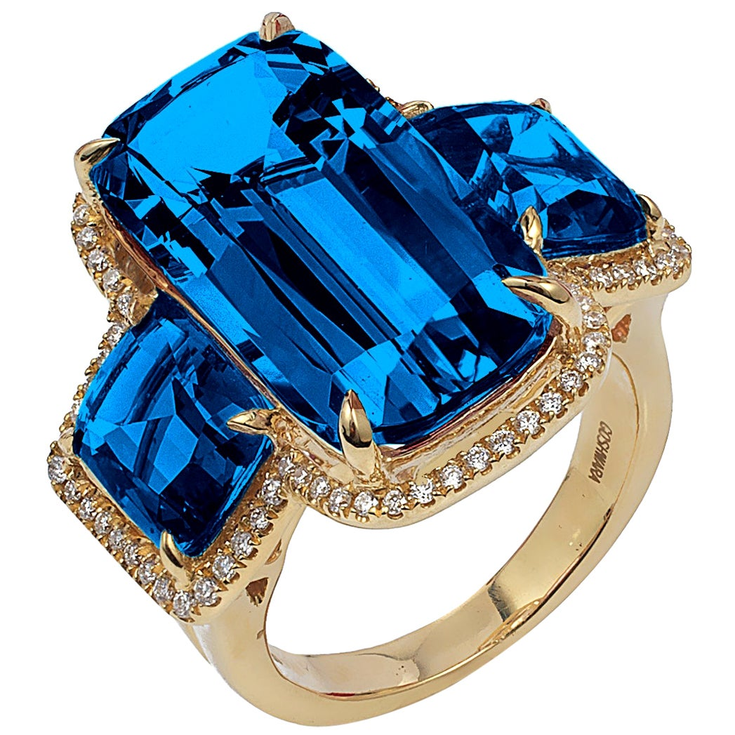 Goshwara Cushion London Blue Topaz and Diamond Ring
