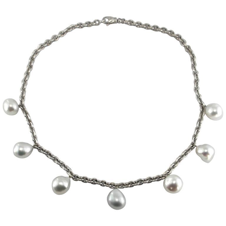 Jona South Sea Baroque Light Grey Pearl 18 Karat White Satin Gold Chain Necklace