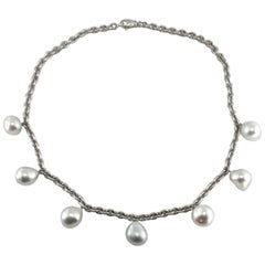 Jona South Sea Baroque Light Grey Pearl 18 Karat White Satin Gold Chain Necklace