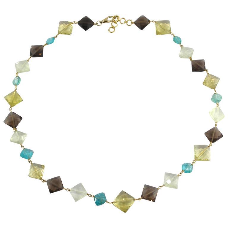 Jona Citrine Apatite Quartz 18K Yellow Gold Necklace