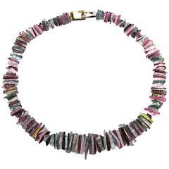 Jona Tourmaline Aquamarine Gold Necklace