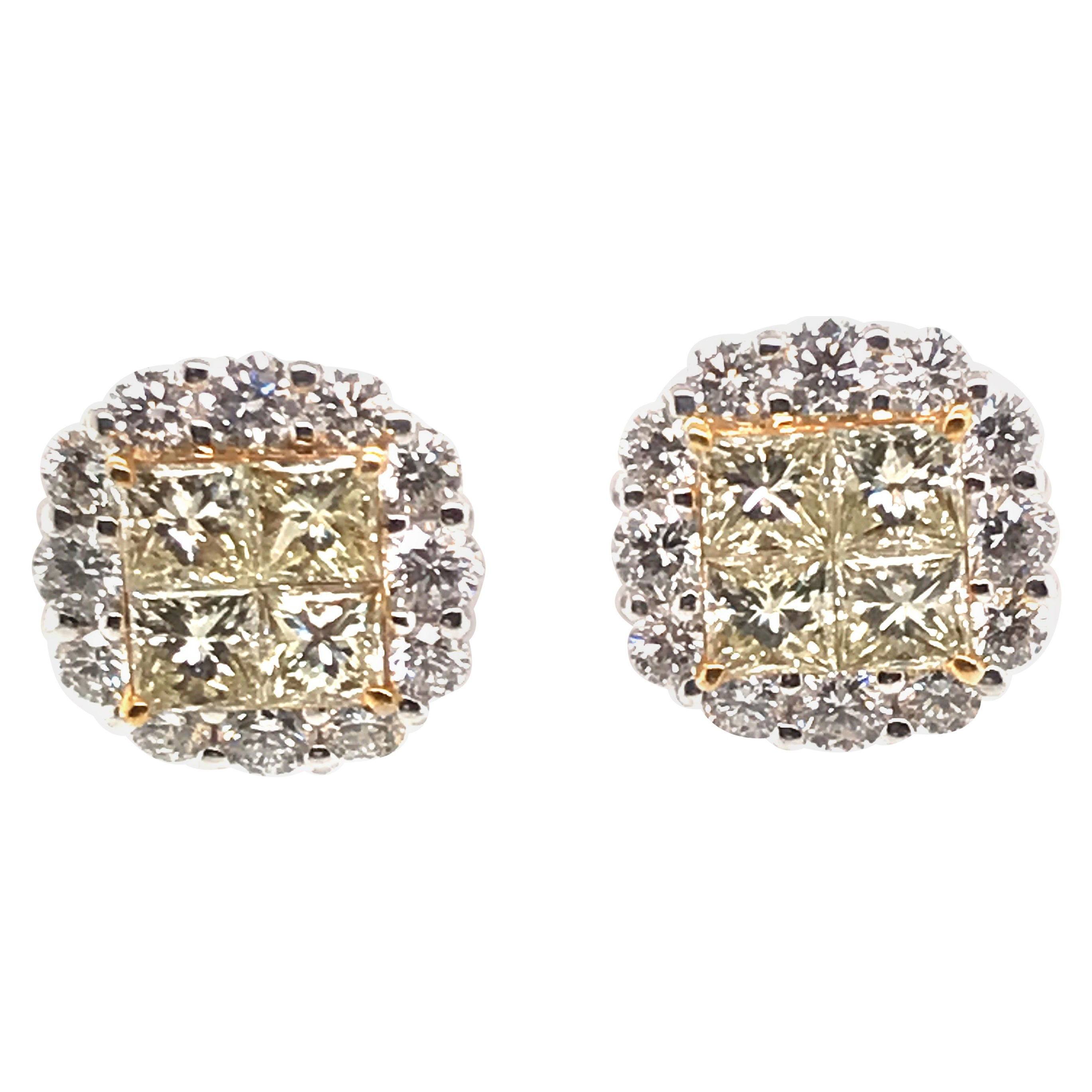 3.84 Carat Natural Fancy Yellow Diamond Cluster Earrings