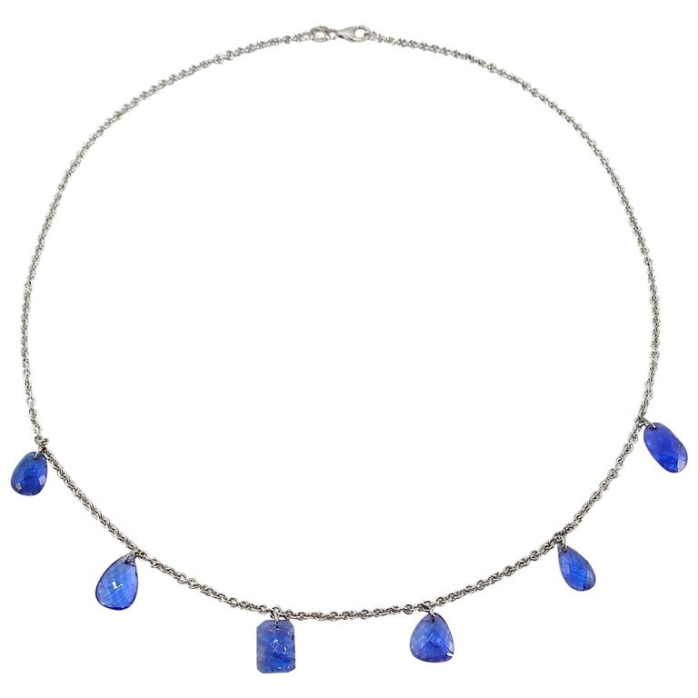 Jona Tanzanite 18k White Gold Chain Pendant Necklace