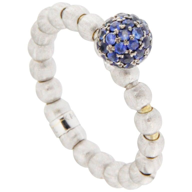 Jona 18k White Gold Blue Sapphire Flexible Ring