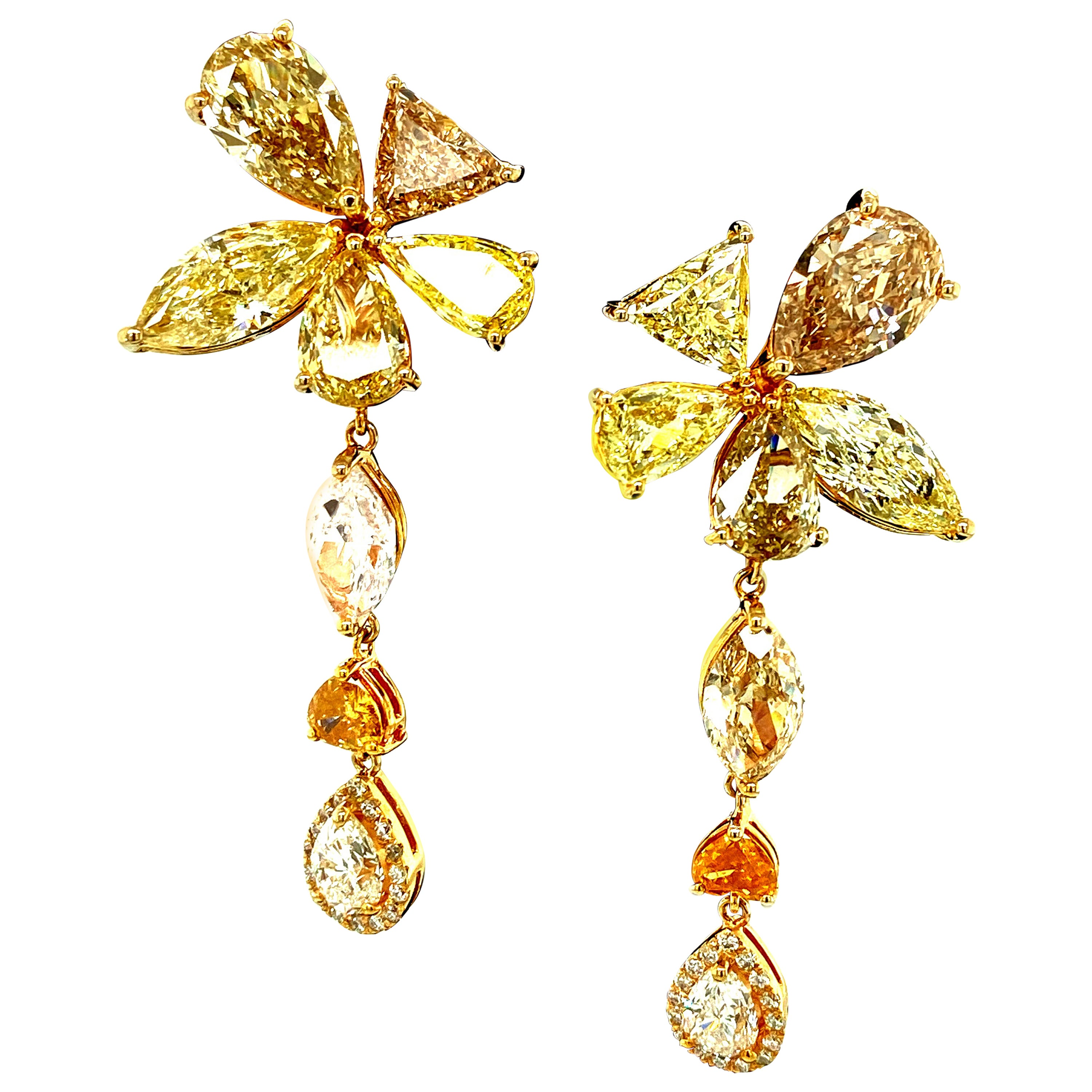 14.45 Carat Natural Fancy Colored Diamonds and White Diamond Gold Earrings