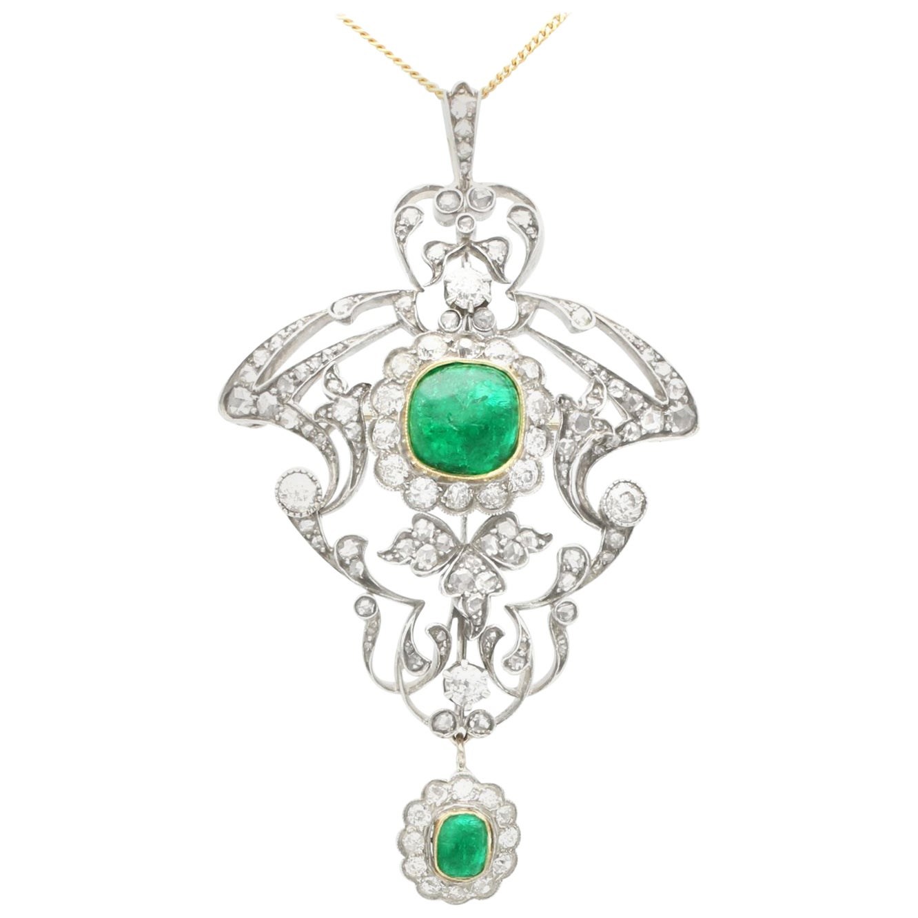 1900s 3.53Ct Emerald and 5.89Ct Diamond Yellow Gold Pendant / Brooch