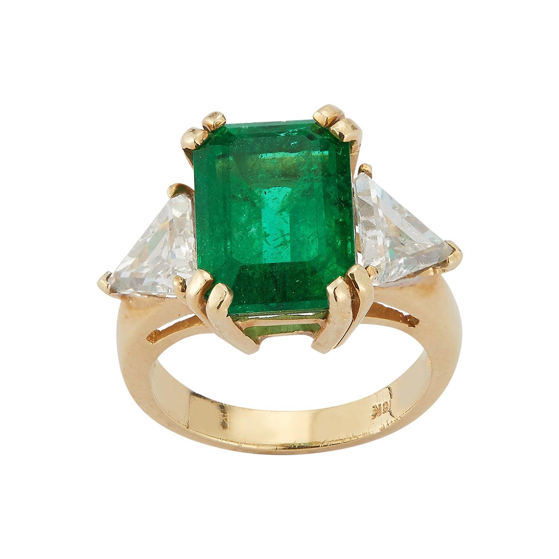 Certified Emerald and Diamond Three-Stone Ring