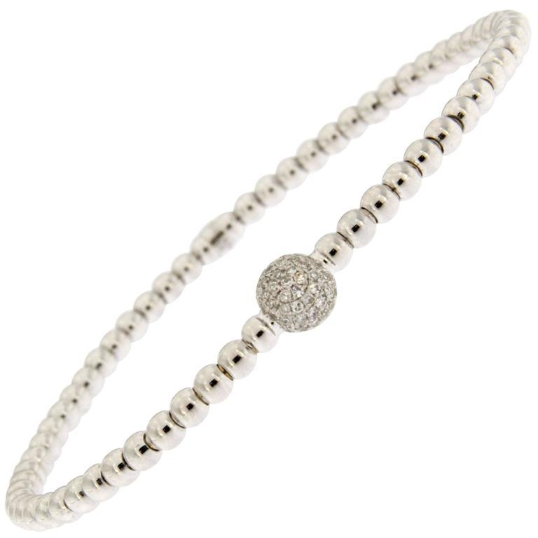Jona White Diamond 18 Karat White Gold Beaded Flexible Bracelet For Sale