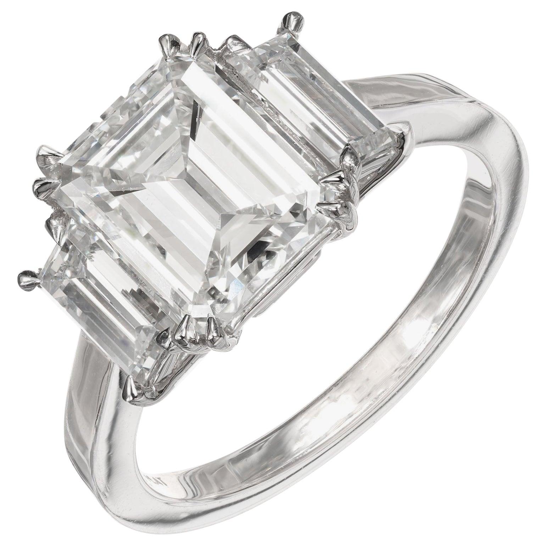 Peter Suchy GIA 2.69 Carat Diamond Platinum Three-Stone Engagement Ring
