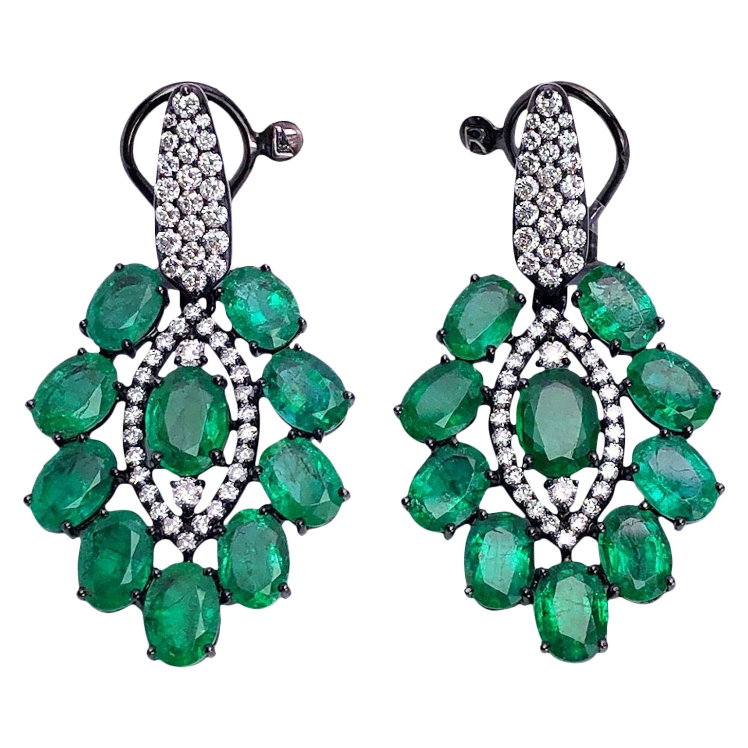 Sutra Jewels 18KT Blackened Gold Drop Earrings with 15.92Ct. Emeralds & Diamonds