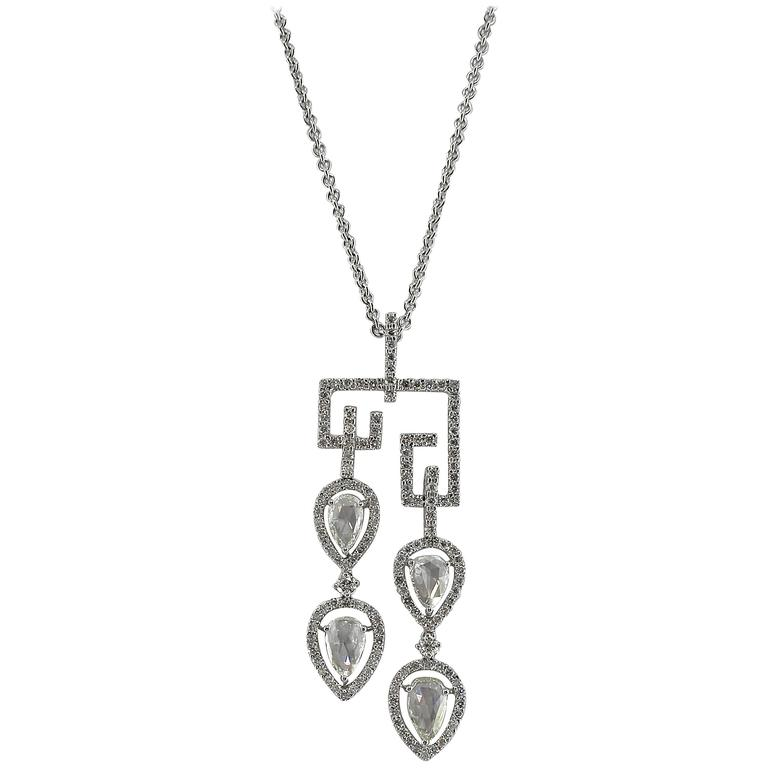 Jona White Diamond 18 Karat White Gold Pendant Necklace
