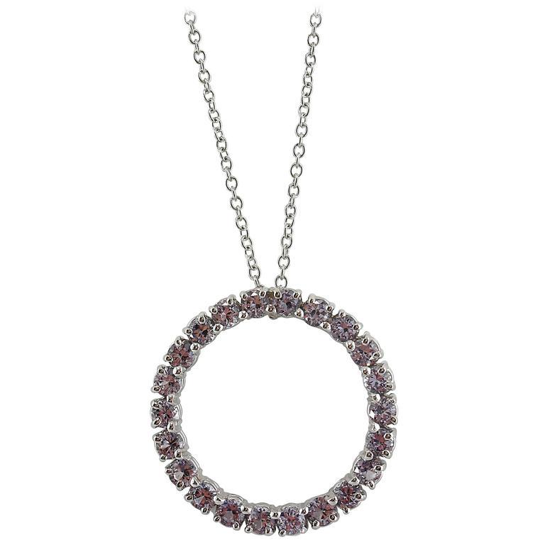 Jona Lavender Spinel 18 Karat White Gold Hoop Pendant Necklace