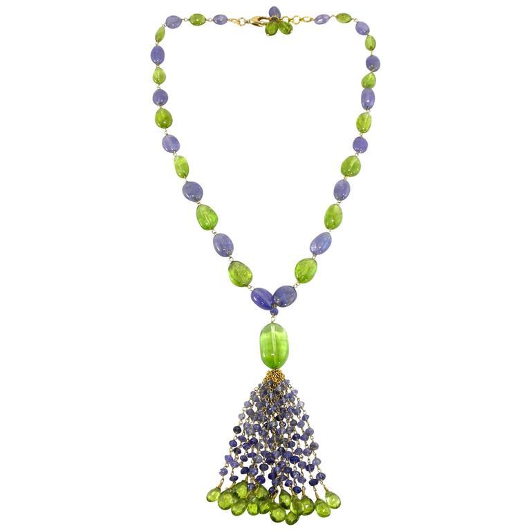 Jona Peridot Iolite 18 Karat Gold Tassel Beaded Necklace