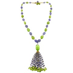Jona Peridot Iolite 18 Karat Gold Tassel Beaded Necklace