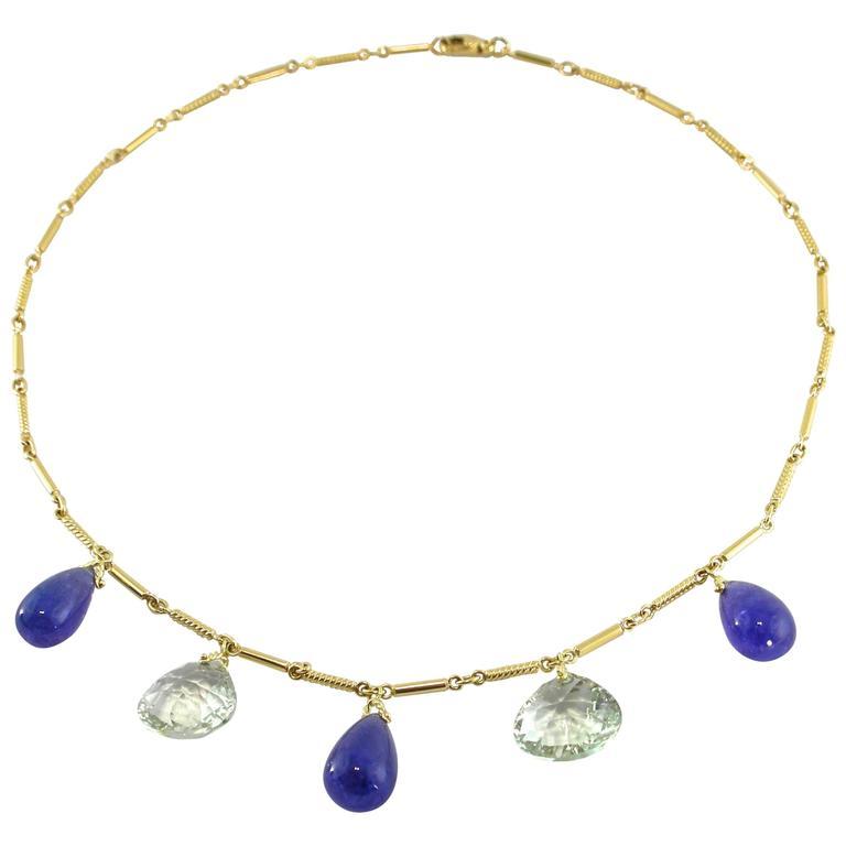 Jona Green Amethyst Tanzanite Gold Drop Necklace