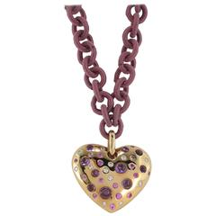 Jona Pink Sapphire Amethyst Diamond Rose Gold Heart Pendant Necklace