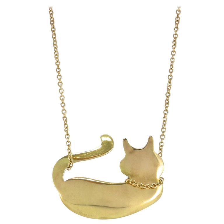Jona 18 karat yellow gold cat pendant for sale at 1stdibs jona 18 karat yellow gold cat pendant for sale aloadofball Gallery