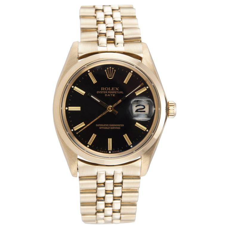 Rolex Yellow Gold Black Dial Date Wristwatch Ref 1503-8 1
