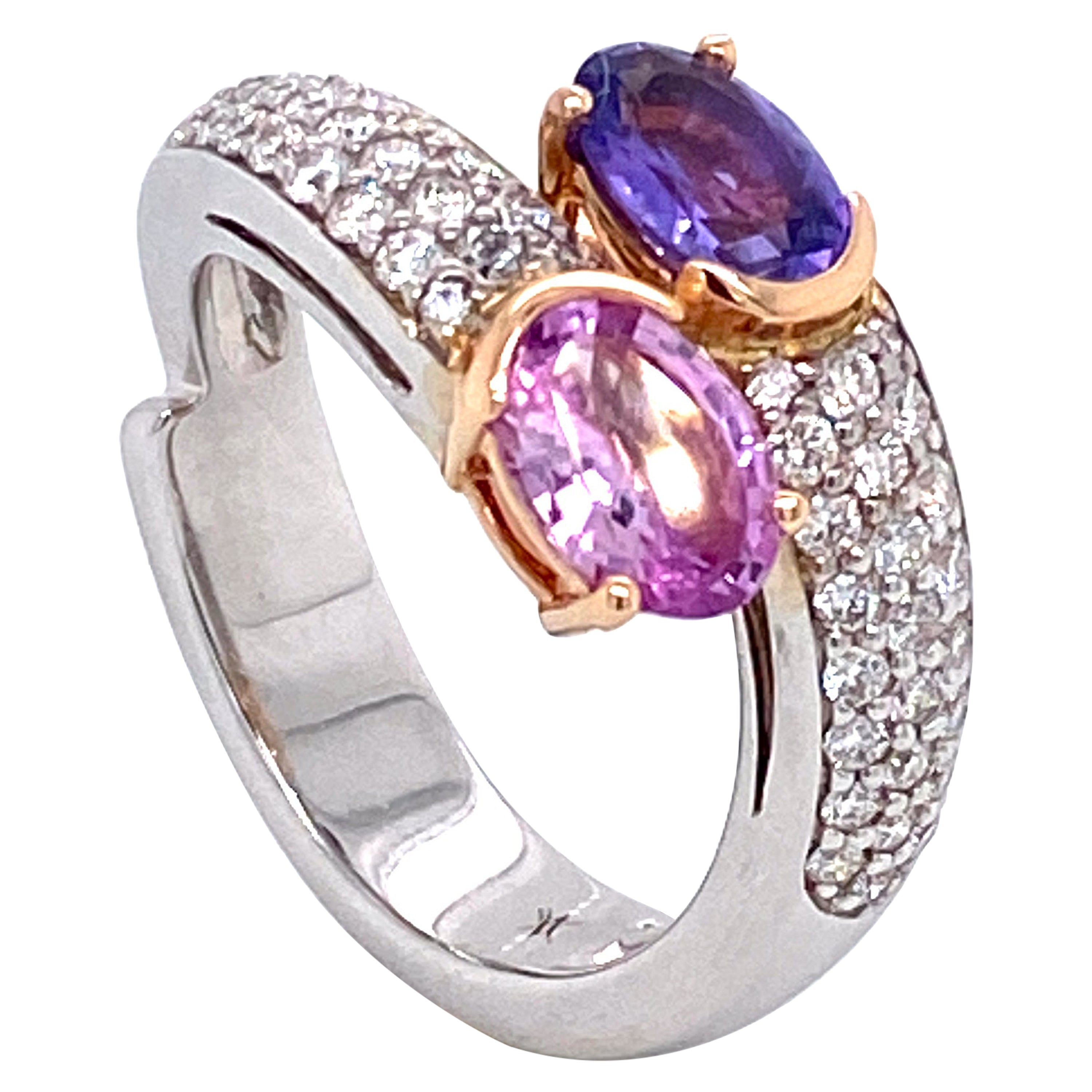 Unheated Pink Sapphire, Diamonds on White and Rose Gold 18 Karat Cocktail Ring
