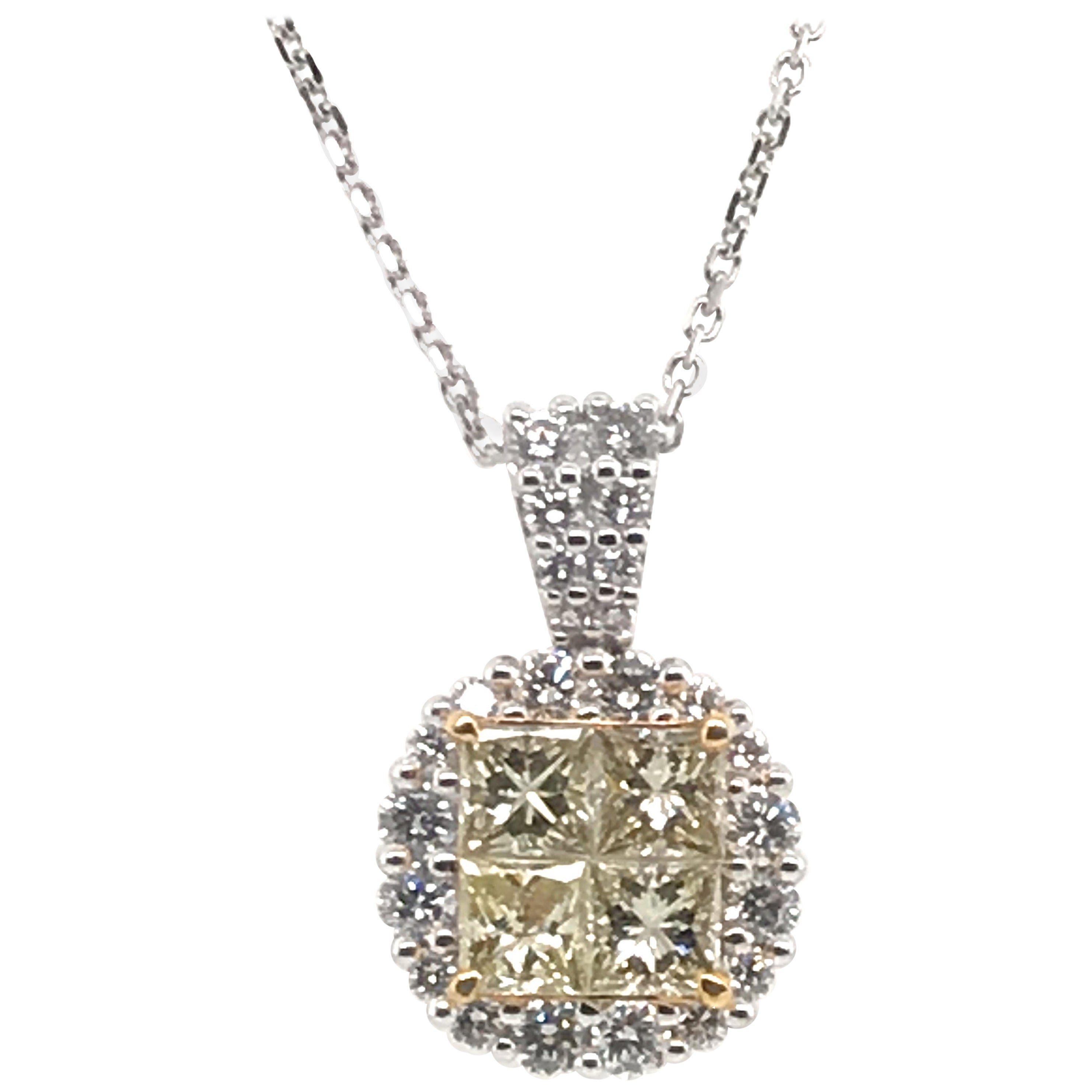 1.39 Carat Natural Yellow Princess Cluster Diamond Pendant