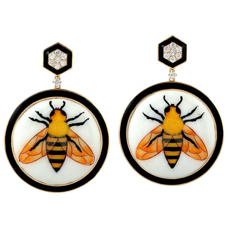 Enamel Hand Painted 18 Karat Gold Bee Diamond Earrings