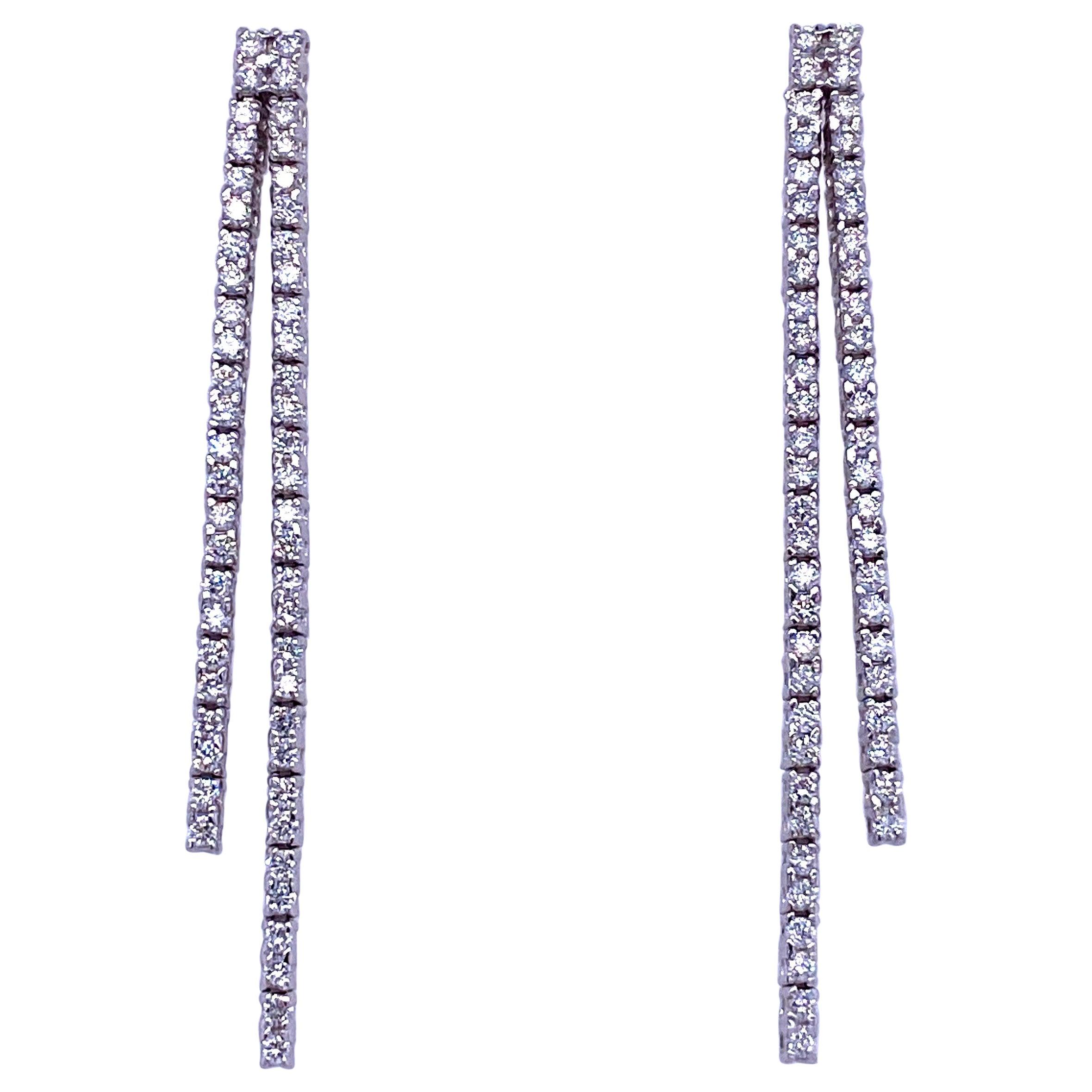 Double-Row Diamond Drop Earrings 0.90 Carat 14 Karat White Gold