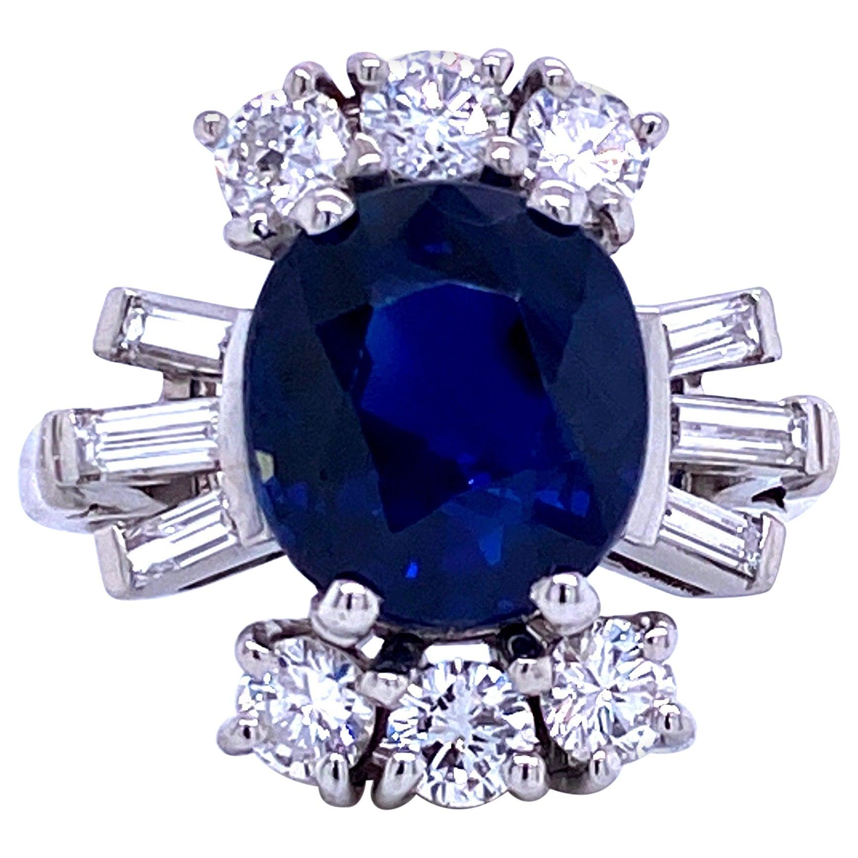 Sapphire Diamond Cocktail Ring 6.52 Carat Platinum