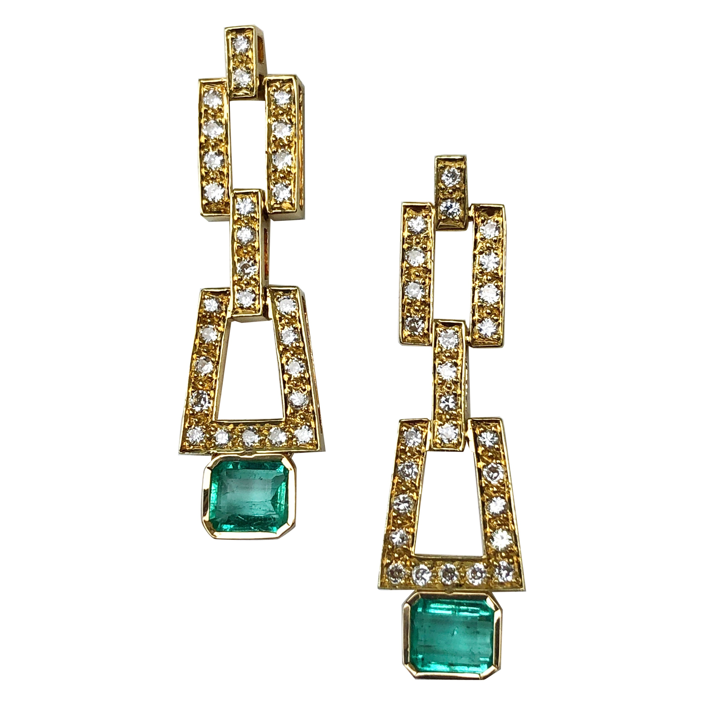 2.80 Carat Deco Style Natural Colombian Emerald Diamond Drop Earrings 18 Karat