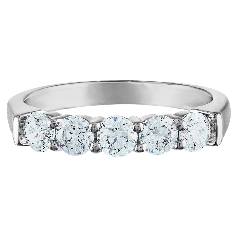 1.00 Carat Platinum, Diamond Wedding Band, 5-Stone Ring