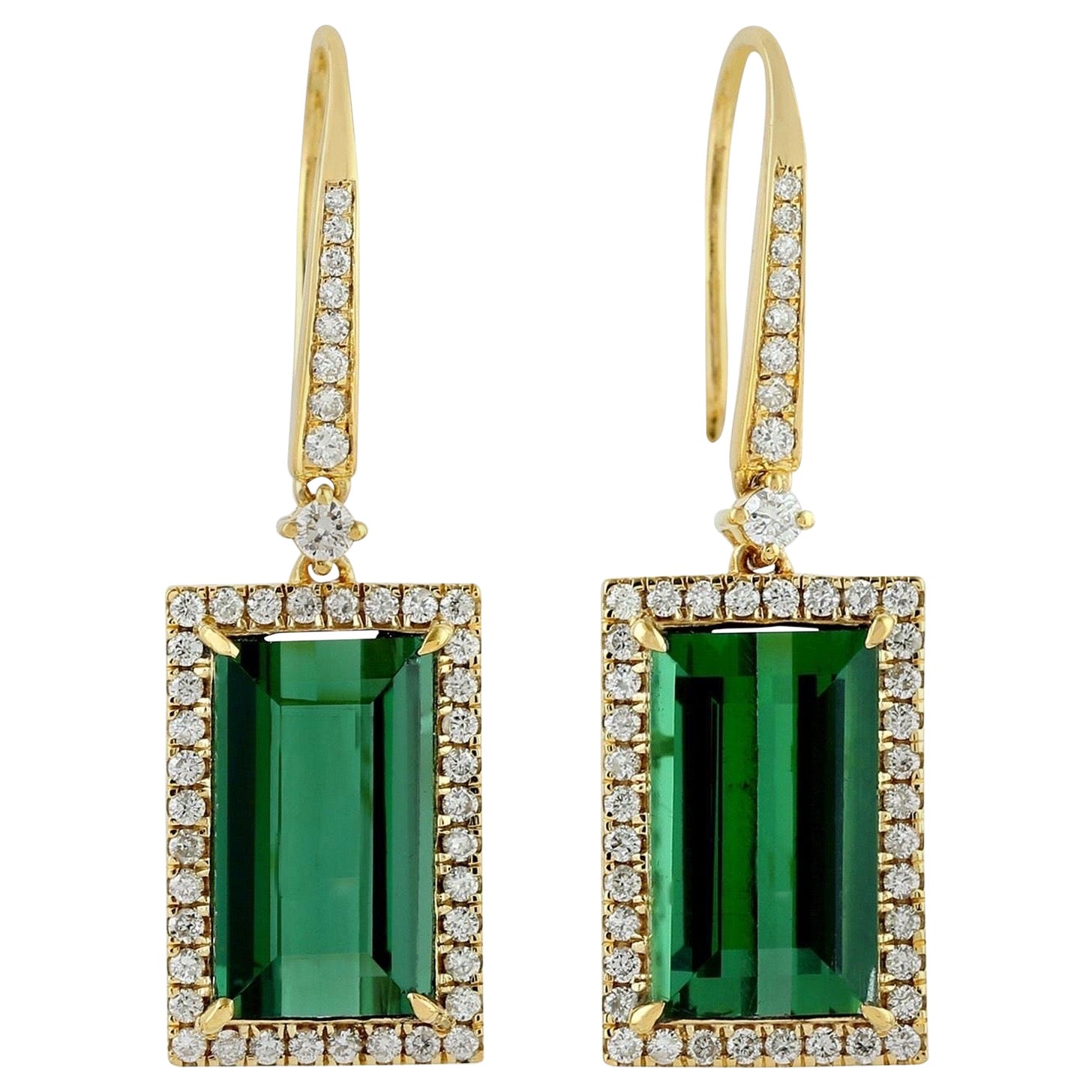 8.35 Carat Green Tourmaline Diamond 18 Karat Gold Earrings