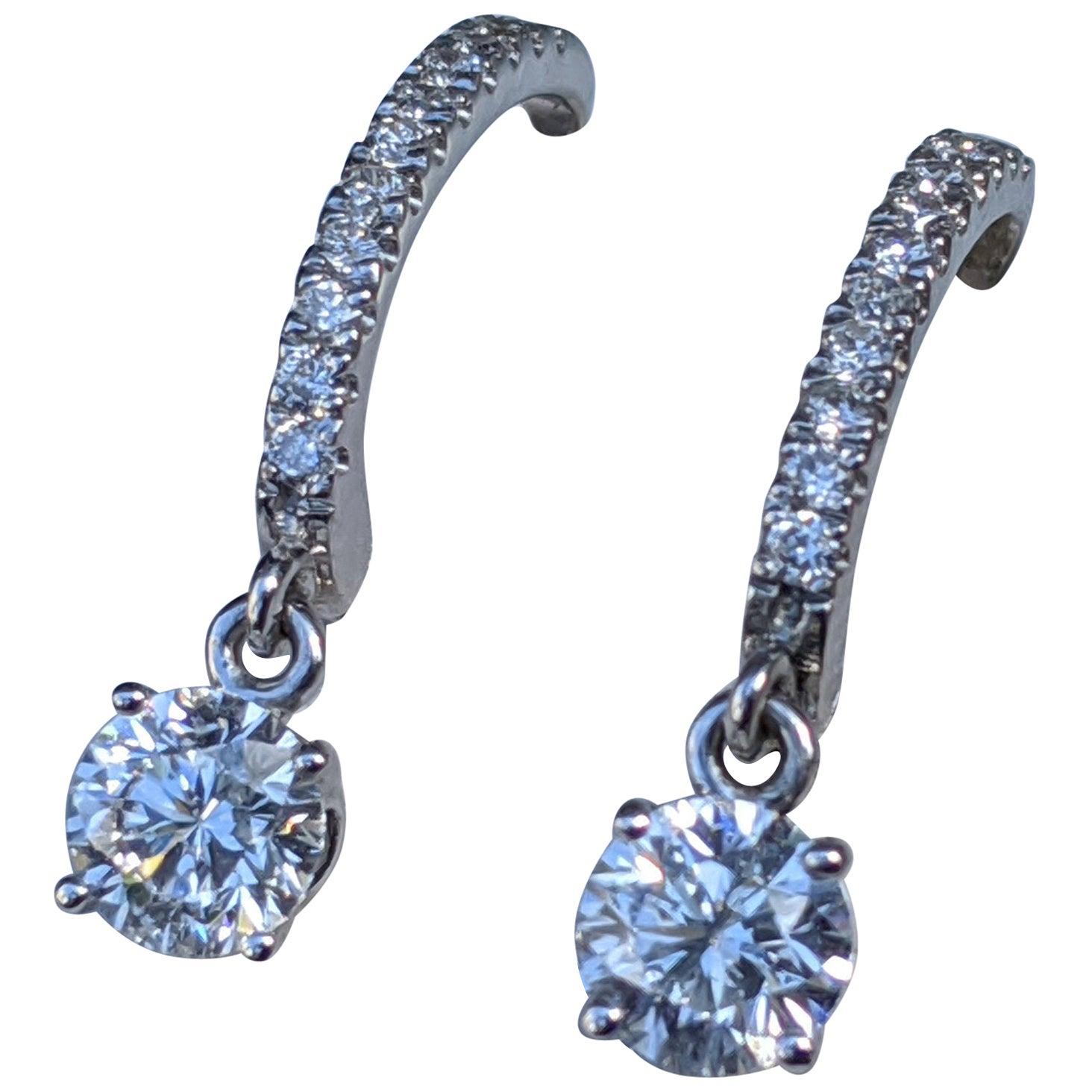 1 Carat 14 Karat White Gold Dangle Drop Round Diamond Earrings