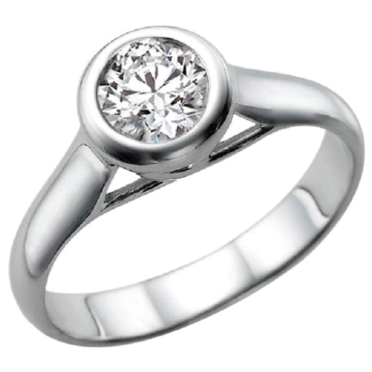 1/2 Carat Bezel Set Diamond Ring, Platinum Diamond Engagement Ring