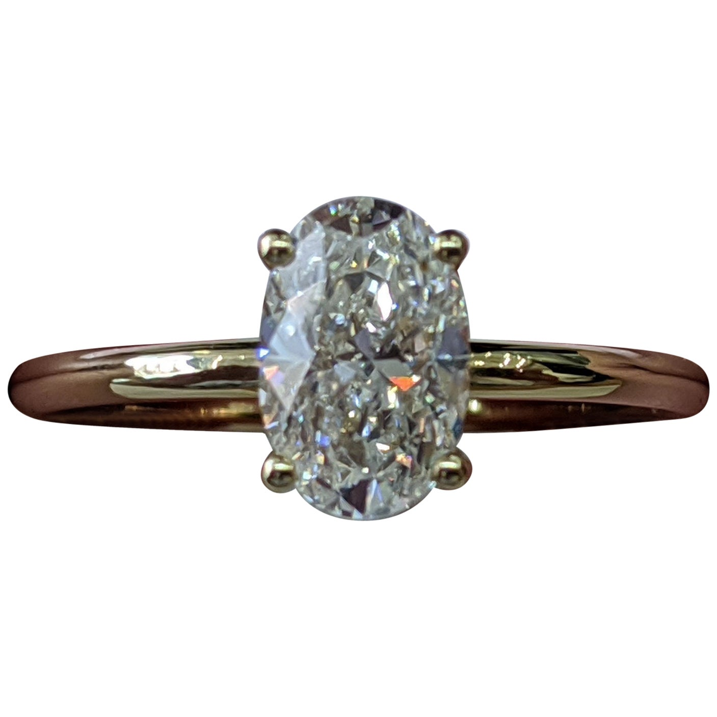 1 Carat 14 Karat Yellow Gold Oval Diamond Engagement Ring