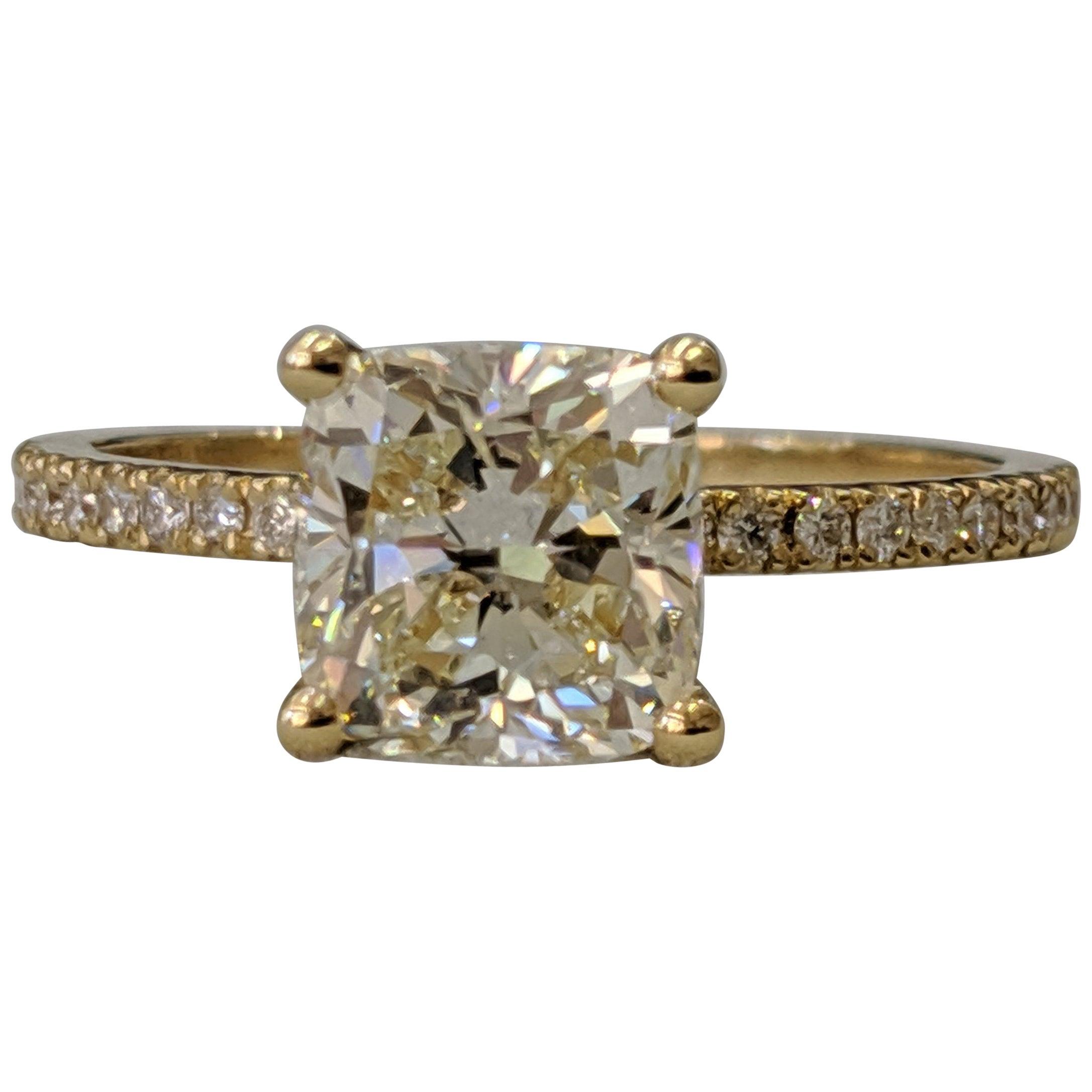 1.75 Carat 14 Karat Yellow Gold Cushion Diamond Engagement Ring