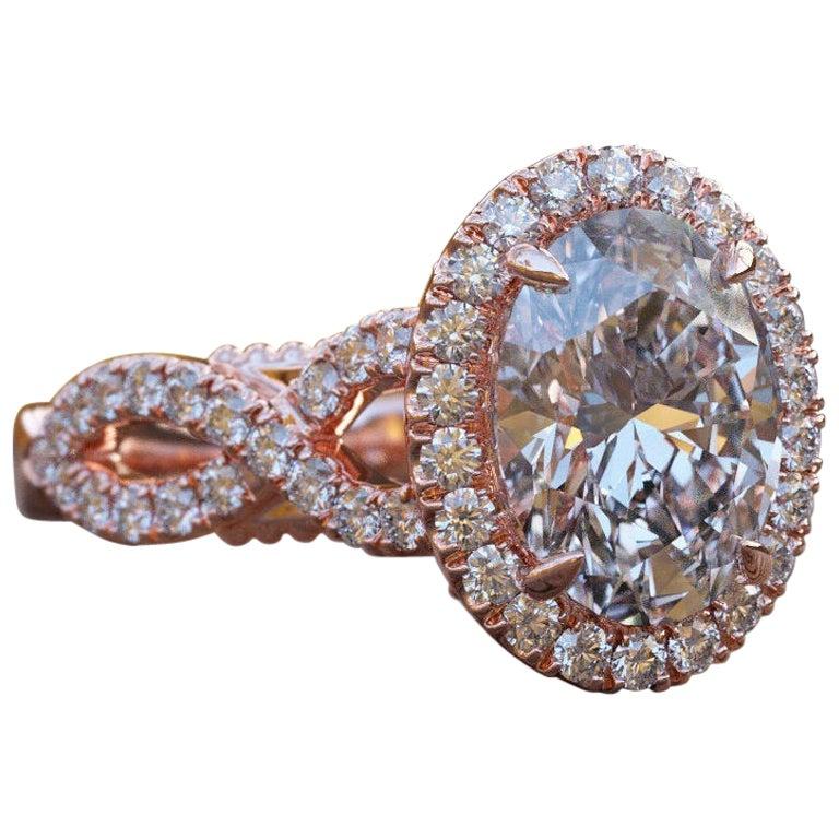 1 1/2 Carat 14 Karat Rose Gold Oval Engagement Ring