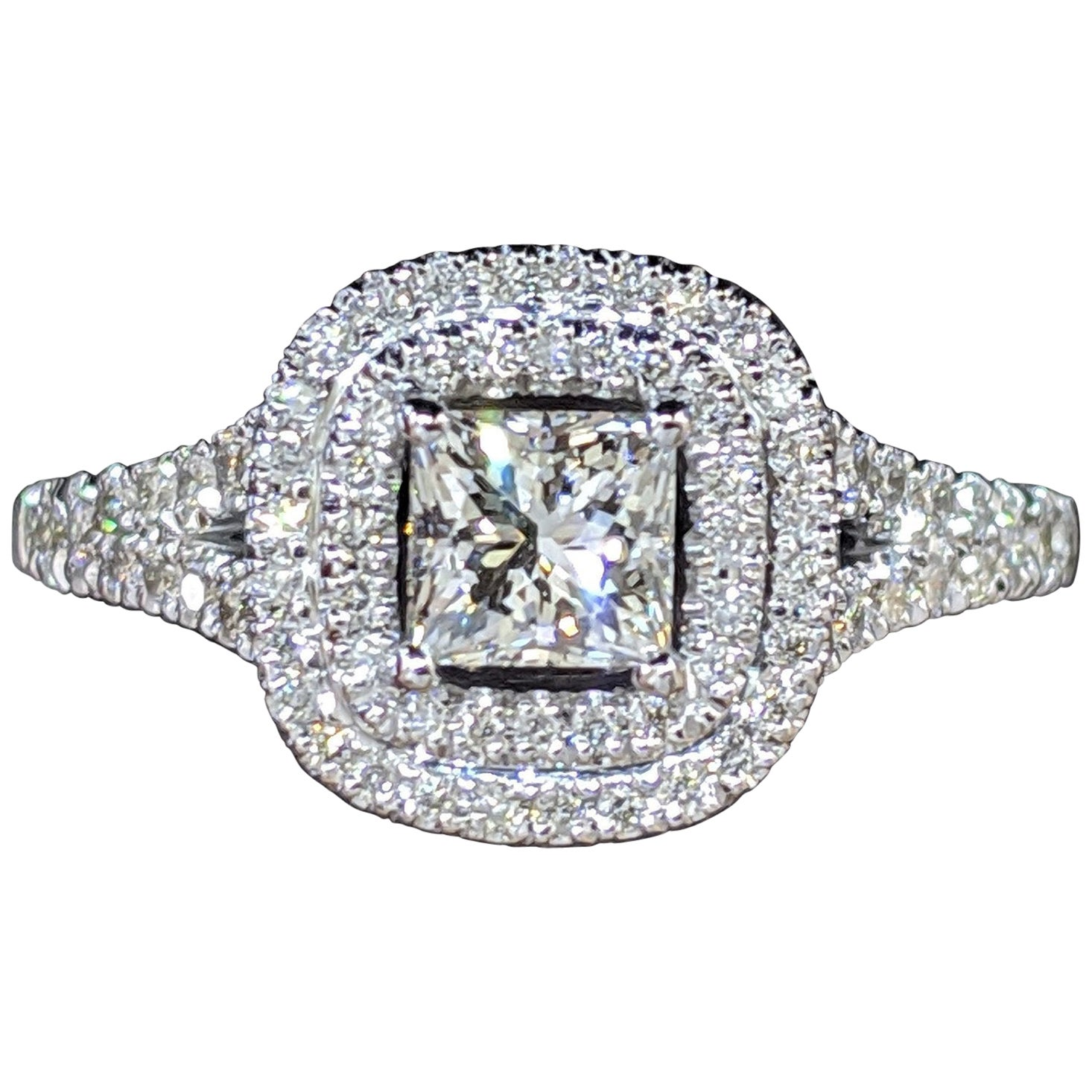 GIA Certified 1 1/2 Carat 14 Karat White Gold Princess Diamond Engagement Ring