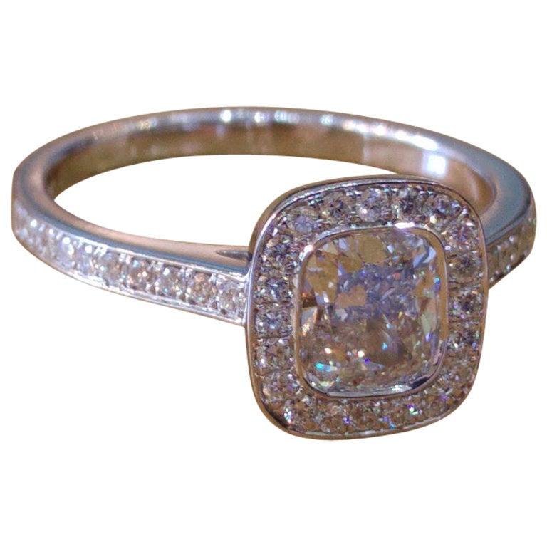 1.50 Carat 14 Karat White Gold Cushion Halo Ring, Cushion Diamond Ring