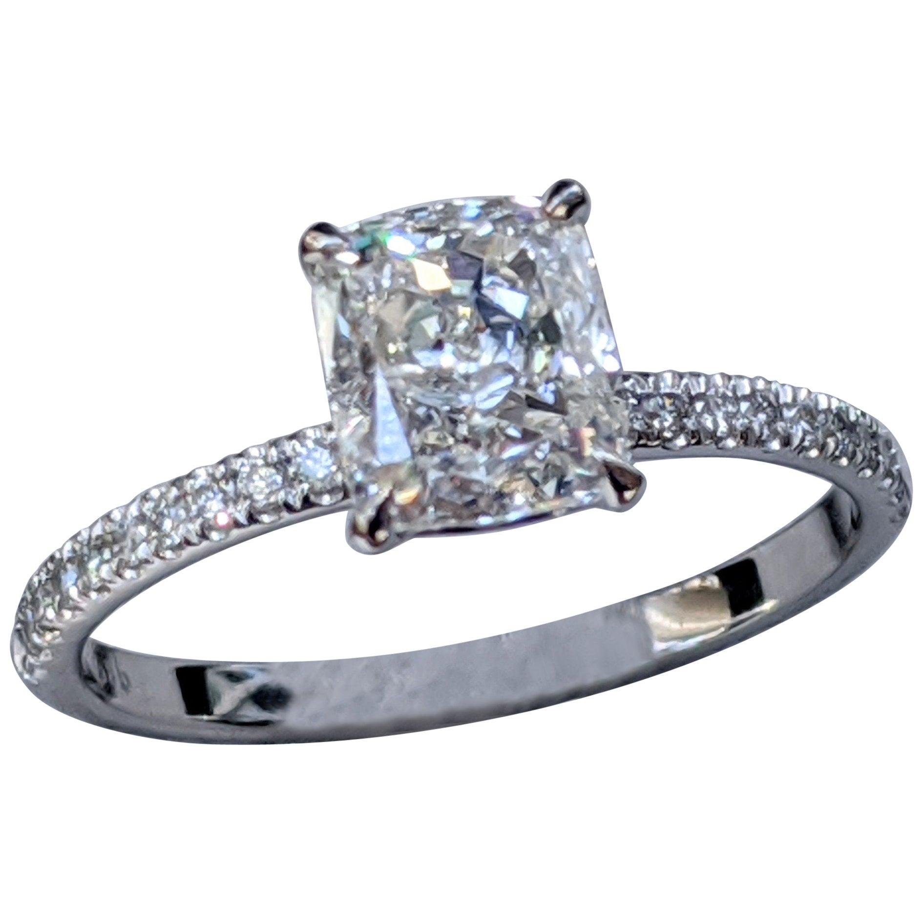 1 2/3 Carat 14 Karat White Gold Cushion Diamond Engagement Ring