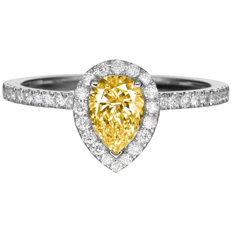 1 Carat 14 Karat Yellow Gold Pear Fancy Yellow Diamond Engagement Ring