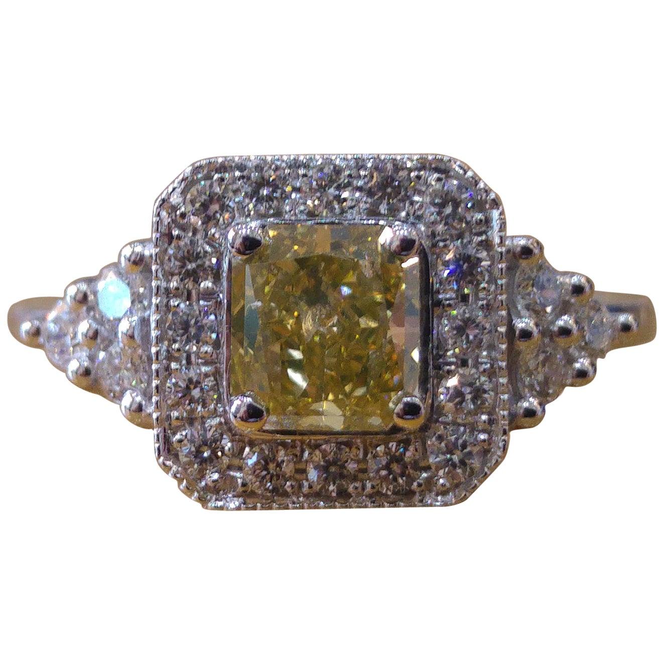 1 Carat 14 Karat White Gold Fancy Yellow Cushion Diamond Engagement Ring