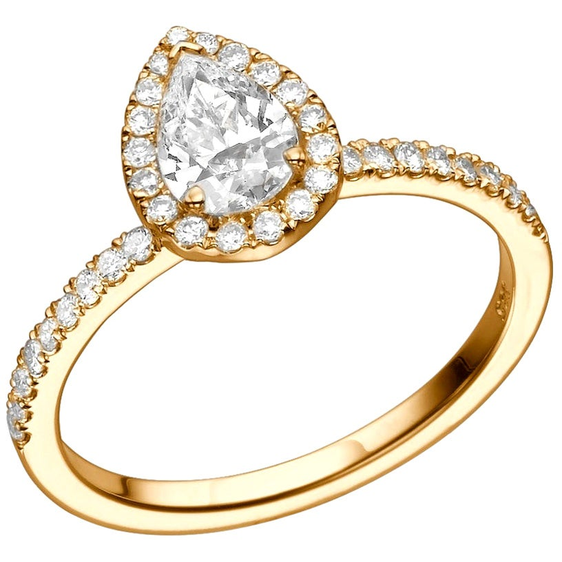 1 Carat 14 Karat Rose Gold Pear Diamond Engagement Ring