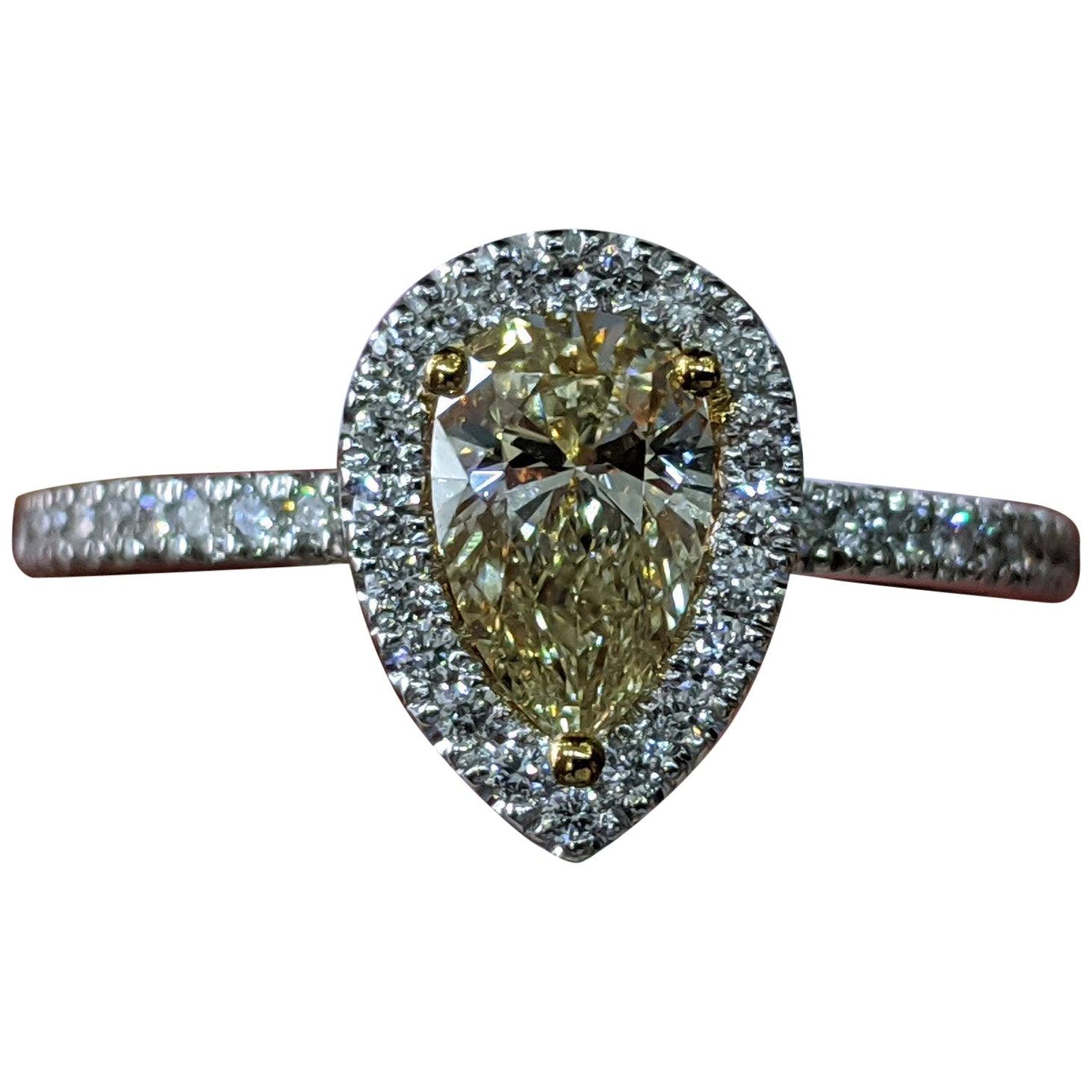 1 Carat 14K White Gold Fancy Yellow Pear Diamond Ring, Pear Diamond Halo Ring